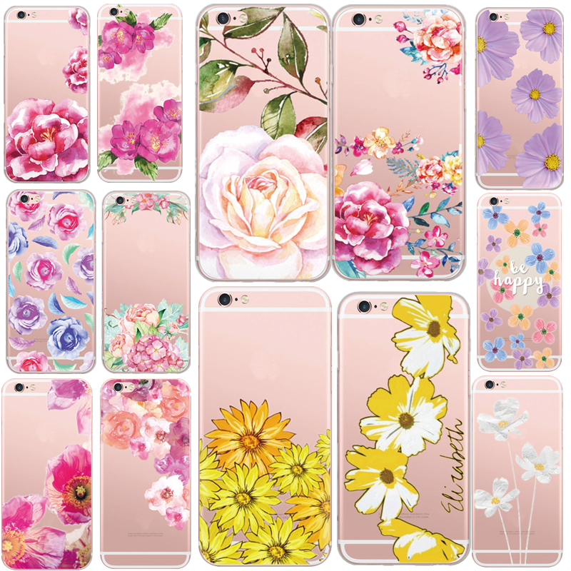 New Arrival Hot Sell Elegant Flowers Daisy Peony Series Painting TPU Case Cover For Apple iPhone 6 6s Transparent Plastic Cover(China (Mainland))