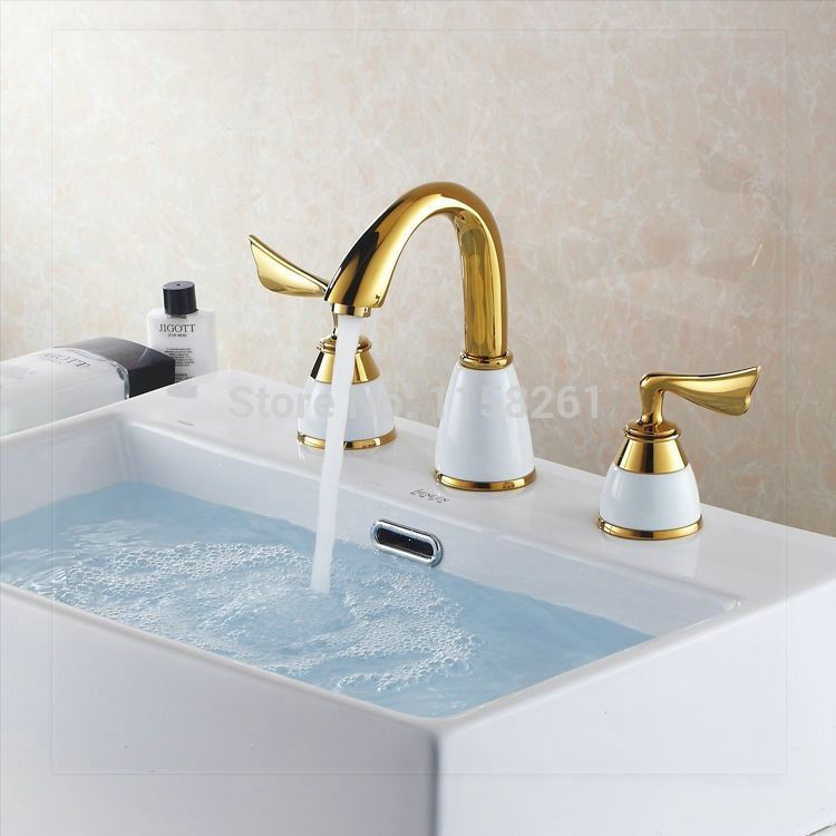 2014new Design 3pcs Gold Polished Solid Brass White Ceramic Bathroom Basin Sink Mixer Tap Basin
