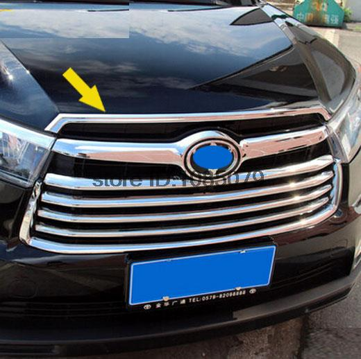 Accessories FIT FOR TOYOTA HIGHLANDER KLUGER 2014 2015 2016 CHROME FRONT HOOD BONNET GRILL LIP MOLDING COVER TRIM BAR(China (Mainland))