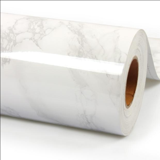 High quality white marble self-adhesive wallpaper self-adhesive vinyl wall stickers Furniture renovation ambry kitchen bathroom(China (Mainland))