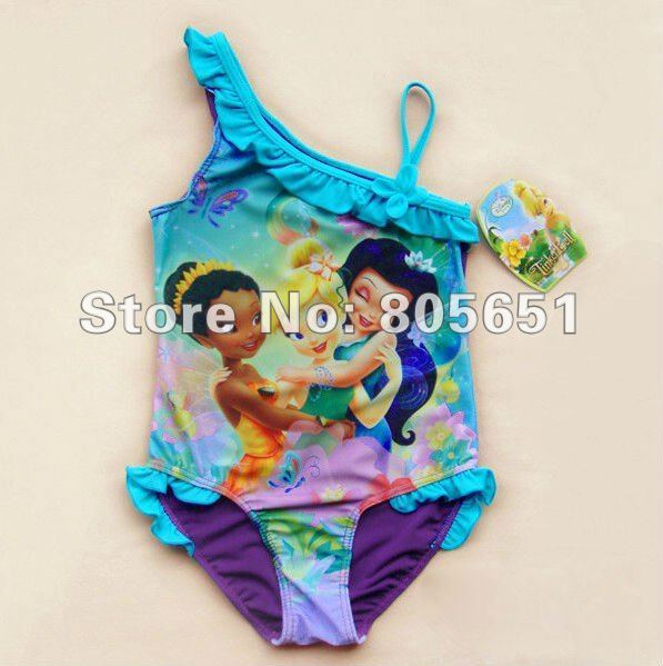 Retail-Hot sale-Freeshipping-New Girls Kids Fairy Tinkerbell Swimwear Tankini Beachwear  Bikini Swimsuit Dress 3-9Y Bathing