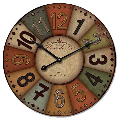 "12"" Retro Vintage Wood Wall Clock Creative Antique Home Office Cafe Decor Ornament Colorful Silent No ticking Wood Wall Clock(China (Mainland))"