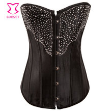 Black Satin Burlesque Showgirl Rhinestone Corset Top Korsett For Women Corsets and Bustiers Waist Training Sexy Gothic Clothing