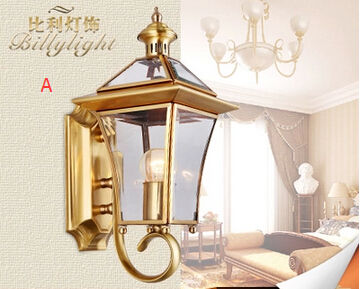 All copper European retro wall lamp waterproof outdoor patio terrace outdoor wall sconce lamp American copper<br><br>Aliexpress