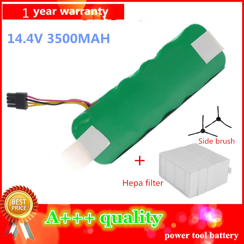 14.4V 3500mAh vacuum Cleaner Battery High quality Battery for Ecovacs Mirror CR120 X500 X580 battery+2ps Filters+2pc Side brush(China (Mainland))