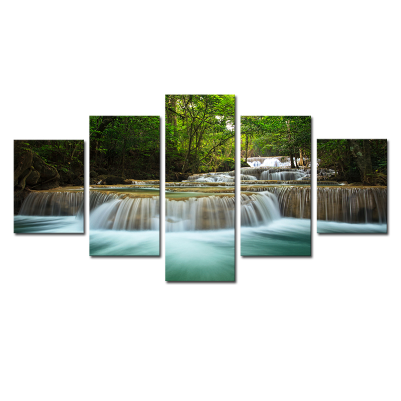 5 Panel Waterfall Painting Canvas Wall Art Picture Home Decoration Living Room Canvas Print
