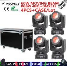 Buy 4pcs/ RGBW 4IN1 60W beam lights+Flight Case dmx512 led spotlight moving head lights professional dj equipment for $994.00 in AliExpress store