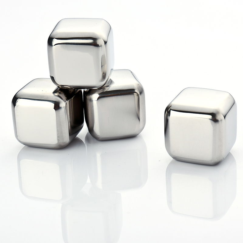 4Pcs/lot Whiskey Wine Beer Stones 440C Stainless Steel Cooler Stone Whiskey Rock Ice Cube Edible Alcohol Physical Cooled(China (Mainland))