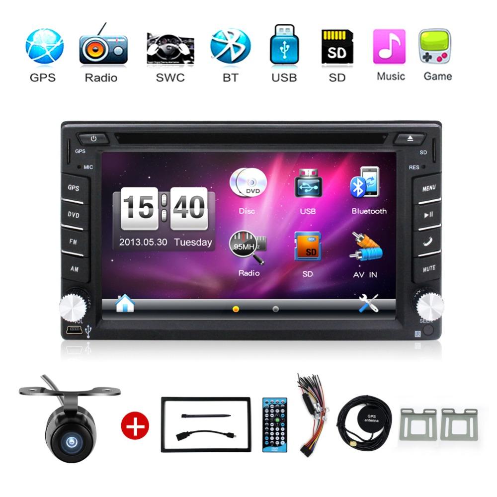 2 din car dvd player GPS Navigation universal car radio audio auto car parking sensor stereo in dash Bluetooth Free map+Camera(China (Mainland))