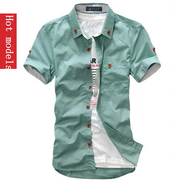 Brand men s short sleeve shirts top quality summary table slim shirt