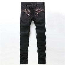 Hot bronzing black men's jeans, men's European and American fashion Slim Straight trousers, high quality men's jeans Robin(China (Mainland))