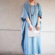 2016 New Summer Style Women Casual Maxi Dress Cotton Linen Batwing Sleeve Loose Plus Size Robe Half Sleeve Round Neck Dress(China (Mainland))