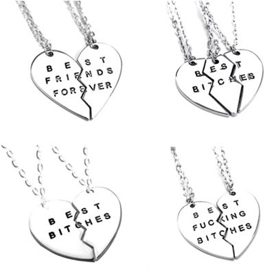 Style Fashion Broken Heart 3 Parts Gold Best Bitches Necklaces & Pendants,Jewelry Women,Best Gift Friends - Crown Forever store