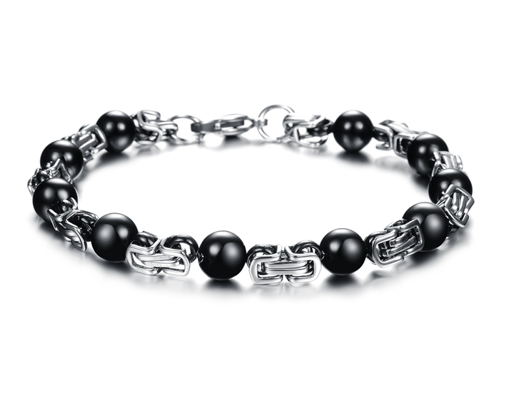 Quality NEW Stainless High Steel Black Oblong Strip Chain Men Friendship Bracelet Unique accessory Gift JEWELRY(China (Mainland))