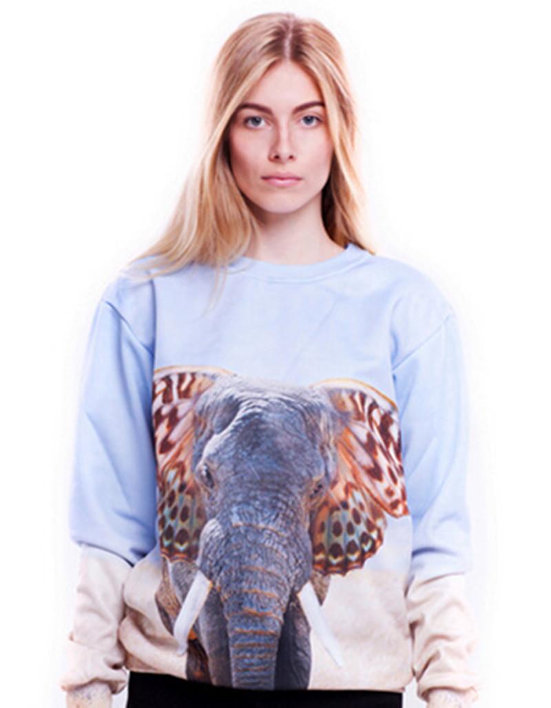 2015 cute 3d print animal ear hoodie fashion Africa elephant sweatshirts winter pullover loose joker tracksuits buzos agasalho(China (Mainland))