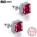 JQUEEN Ruby red earrings Princess Cut 925 sterling silver earrings 3Ct bijoux wedding earrings vintage stud