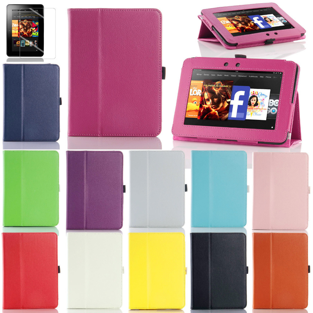"Case  For 2012 Amazon Kindle Fire HD 7"" Folio PU Leather Flip Stand Case Smart Cover (China (Mainland))"