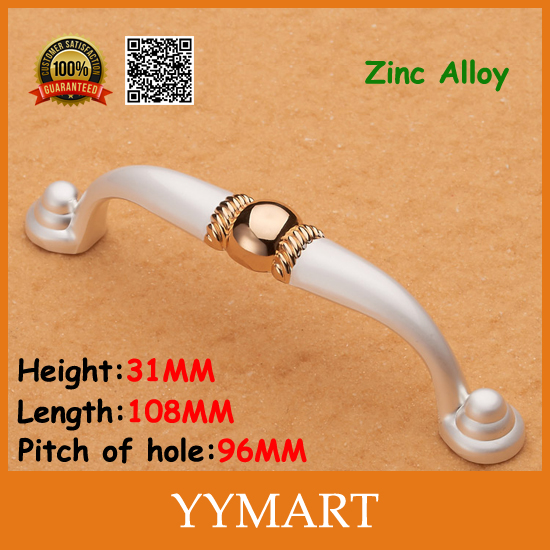 96mm Fashion ivory polished gold ball modern cabinet knobs and handles Furniture Hardware(China (Mainland))