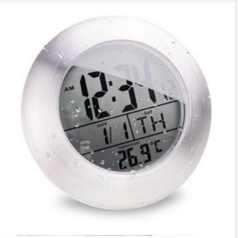 Waterproof Shower Silent Digital Clocks Bathroom Kitchen Wall Suction Cup Clock Watch Modern Fashion Temperature & Date Design - DEHAI 3C Brand Mall store