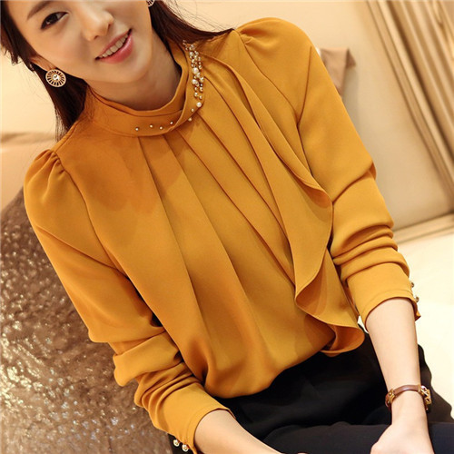 2016 Brand New Fashion Long Sleeve Chiffon Blouse Women Stand Neck With Diamonds Solid Blusas Femininas Plus Size Casual Tops(China (Mainland))