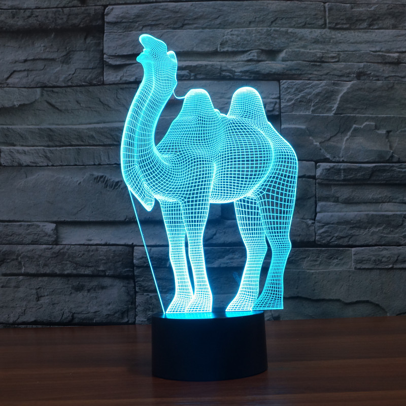 2016 Foreign Trade New Pattern Camel Colorful 3 D Lamp Originality Touch Desktop Desk Lamp Energy-saving LED Illusion Lamp 3100(China (Mainland))