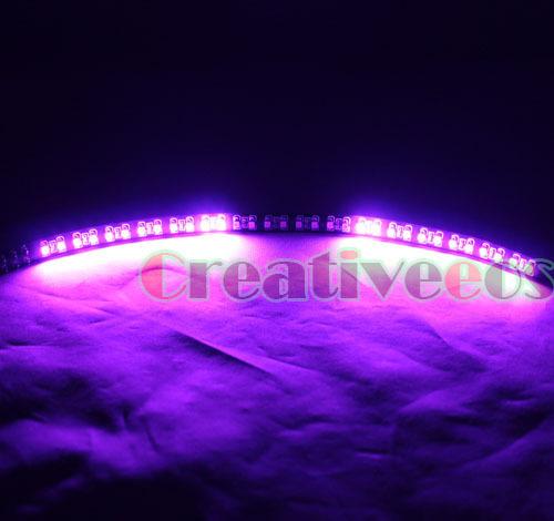 "2x 30CM 12"" 32LEDs Black Body Knight Rider SMD 1210 LED Scanner Strobe Flash Strip Light Pink Purple(China (Mainland))"