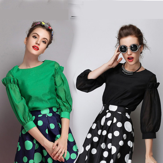 Lantern Sleeve Women Black Blouses Three Quarter Plus Size Tops O-neck Chiffon Green Blouse For Ladies blusas femininas 2015(China (Mainland))