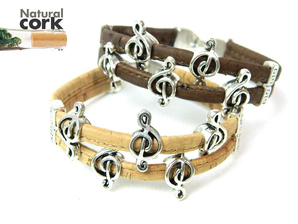 MB Cork Portugal cork crafts Cork bracelet, music symbol bracelet, natural, soft, original, fine jewelry, handmade(China (Mainland))
