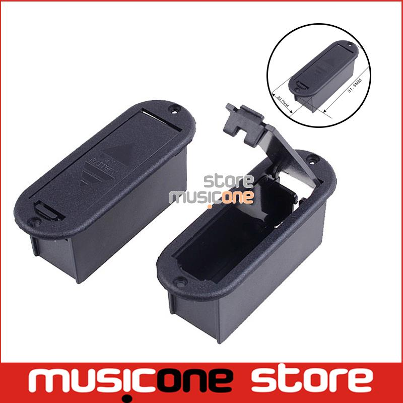 CHEAP Quality 9V Battery Box 81.5MM*29.5MM Case for Active Guitar and Bass Pickup platic black color Free shipping(China (Mainland))