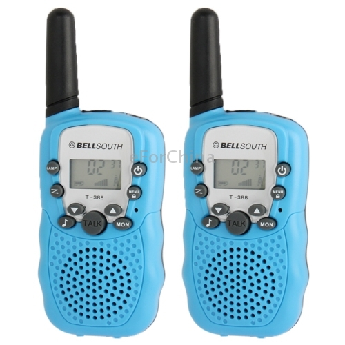 2 Pieces T-388 0.5W 1.0 inch LCD 5KM Walkie Talkie, Baby Blue (2pcs in one packaging, the price is for 2pcs)(China (Mainland))