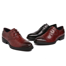 NEW Handmad 100% Genuine Leather Men Oxfod Lace-Up Casual Business Black/Wine Red Men Wedding Men Dress Shoes(China (Mainland))