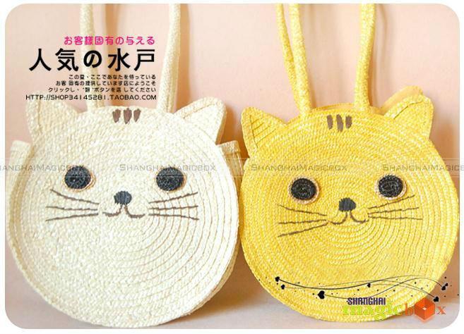 Shanghaimagicbox Women Cute Cat Straw Beach Tote Shoulder Summer Bag WBG194(China (Mainland))