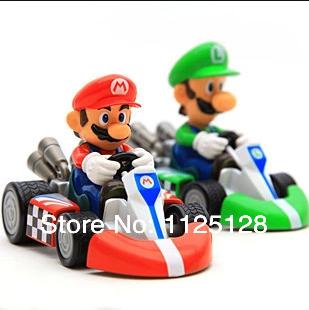 Бесплатная доставка супер марио картинг коуниверсален автомобилей пвх фигурку игрушки 15 * 10 см F0166