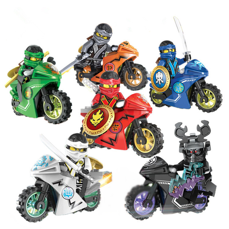 DECOOL Ninjagoes Kai Jay Cole Zane Nya Lloyd Minifigures Motorcycle Weapon Compatible Legoes Ninja Building Blocks Toy - COASTLINE TOY store