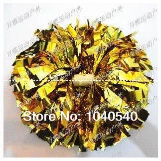 "cheerleading Pom poms 3/4""x 6""~custom color metallic turquoise and metallic gold handmade new hot sale mini order 10 pieces 0004(China (Mainland))"