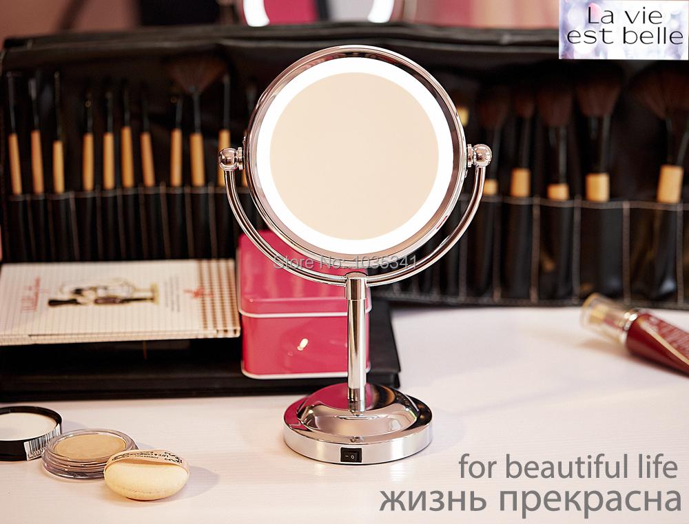 6 pulgadas led espejo de maquillaje doble cara espejo 1x for Espejo aumento con luz