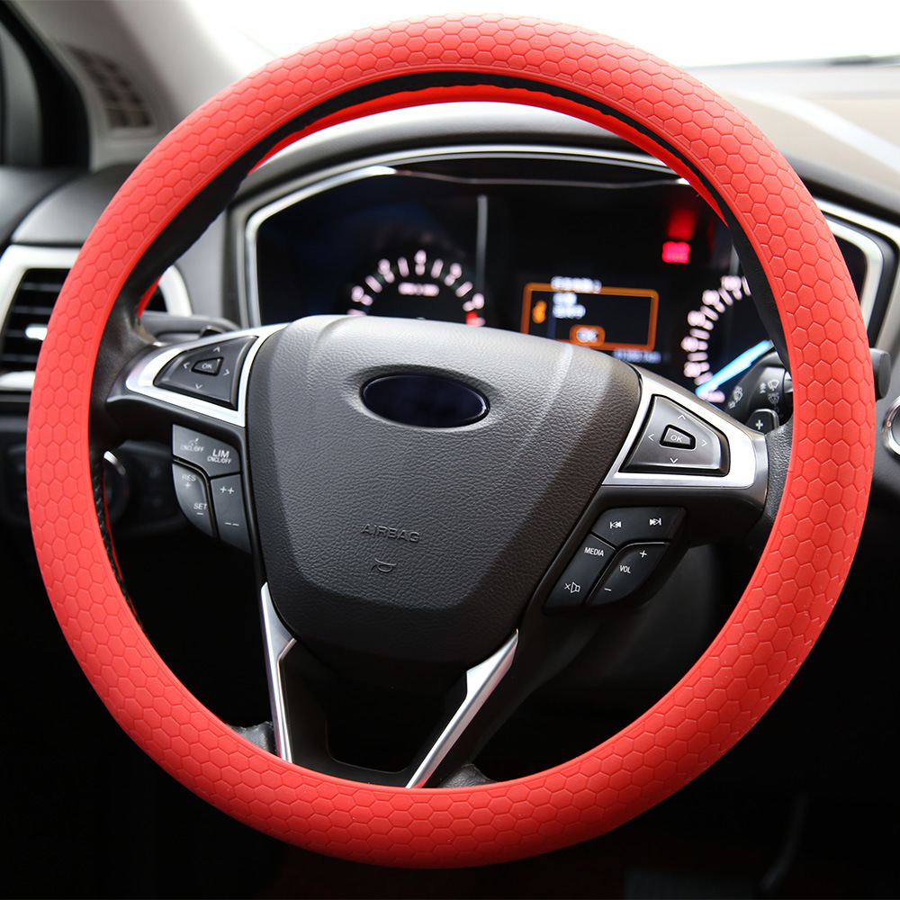 Fashion Design Silicone Steering Wheel Cover For Kia Ople Skoda Nissan Hyundai Ford Fit For 33cm to 38cm(China (Mainland))