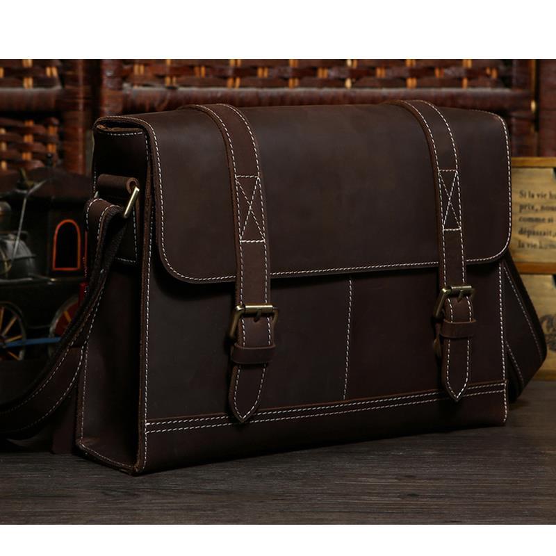 Classic Vintage Cowhide Crazy Horse Leather men's Crossbody Bag Portfolio Satchel Messenger Bag # PR581120(China (Mainland))