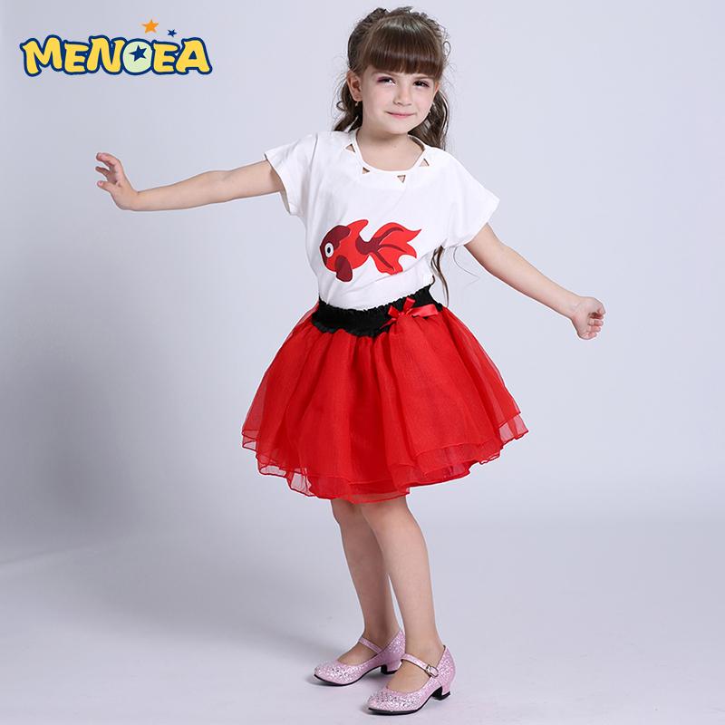 Menoea Summer tutu dress girls 2016 children chothing kids dresses goldfish Printed T-Shirt+Gauze Dress Suit  -  C Jenny store