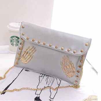 2015 New Arrive Women's Shoulder Bag PU Leather Skull Day Clutch 3 Colors Envelope Messenger Bags Free Shipping