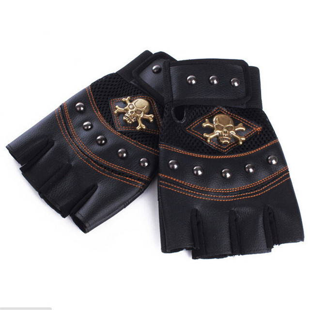 Skull PU Leather Gloves