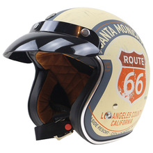Route 66 Design Novelty 3/4 Motorbike helmet DOT Approved Harley helmet Double D ring buckle USA style motorcycle helmet