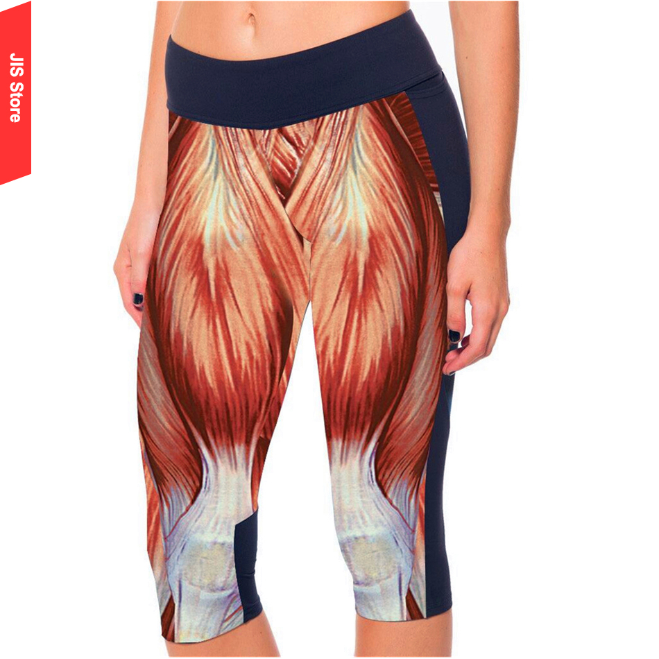 JIS Middle Waist Digital Printing Yoga Pants Sport Fitness Running Tights Breathable Quick Drying Trousers Gym Legging For Women(Hong Kong)