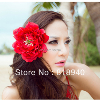 Wedding Fascinator Head Hair Flower Bridal Peony Floral Clip Brooch Pin Red New