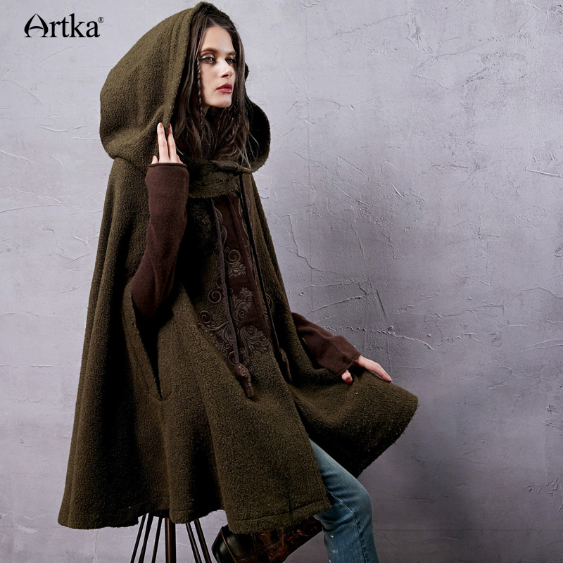 Artka Women's Autumn New Vintage Ethnic Woolen Hooded Cloak Coat Embroidered Turtle Neck Drop-Shoulder Sleeve Wool Cape WA10220D(China (Mainland))