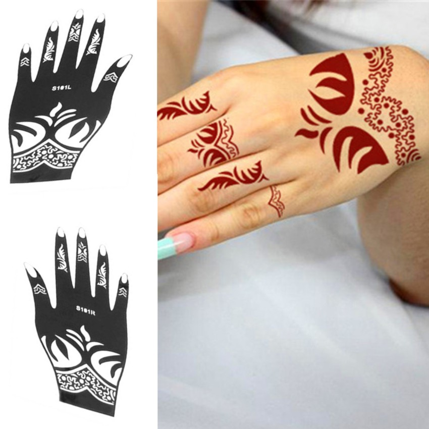 Tattoo Stencil Henna Template Reusable Temporary Airbrush Painting DIY Hand Finger Picture Designs Templates for Right Left Hand