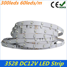 No-waterproof 3828 SMD led strip 5m 300 LED DC12v  flexible light 60 led/m LED strip white/warm white/blue/green/red/yellow/rgb