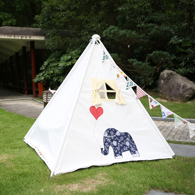 Four Poles Kids Tent Printed Teepee Children Play Tent Cotton Canvas Tipi for Baby Room Ins Hot(China (Mainland))