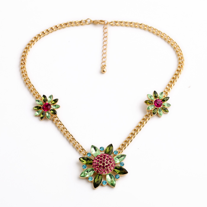 Made Gold Long Chain Fashion New Look Classical Vintage Accessory Floral Spike Collar Necklace(China (Mainland))