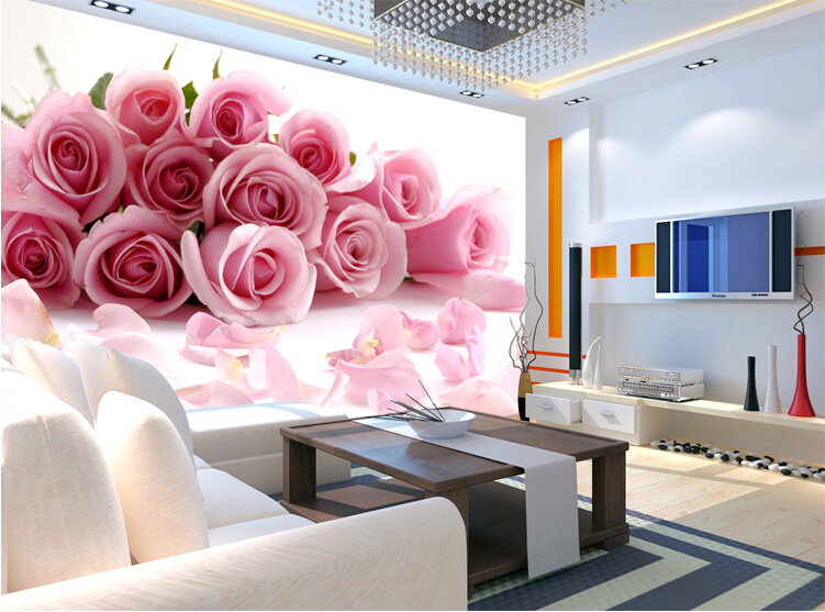 Wallpaper music picture more detailed picture about for Red flower wallpaper living room